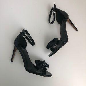 Michael Kors Black Sequin Bow High Heel Sandals 7